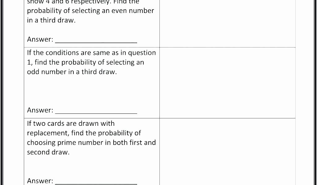 Theoretical Probability Worksheets 7th Grade Third Grade Probability Worksheets 7th theoretical Math 4