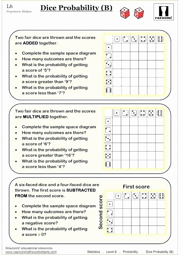 Theoretical Probability Worksheets with Answers Probability Statistics Worksheets