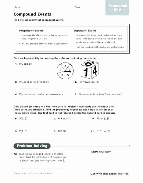 Theoretical Probability Worksheets with Answers Probability Worksheets Grade 7 – Petpage