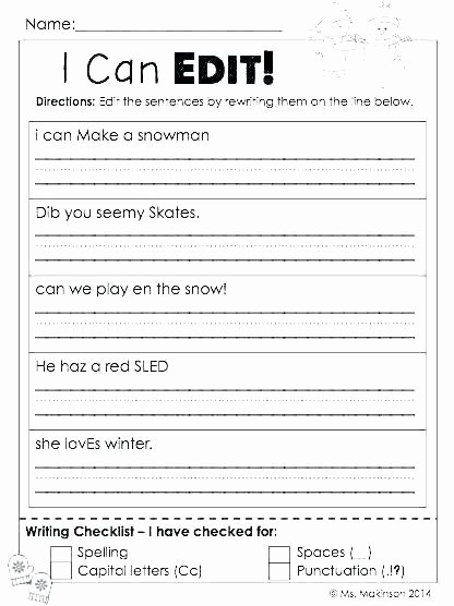 Third Grade Editing Worksheets Punctuation Proofreading Worksheets