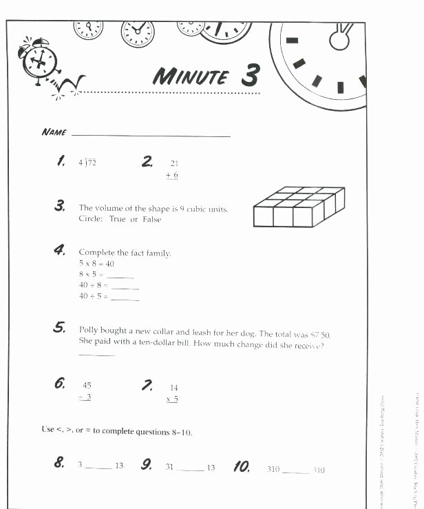 Third Grade Math Minutes Pdf 3rd Grade Math Minutes Worksheets