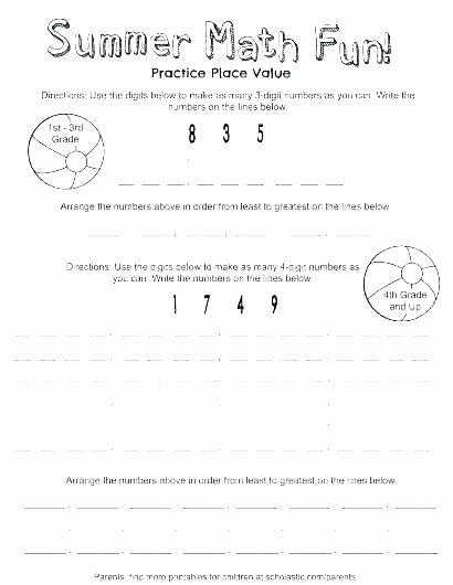 Third Grade Math Minutes Pdf 3rd Grade Math Place Value Worksheets