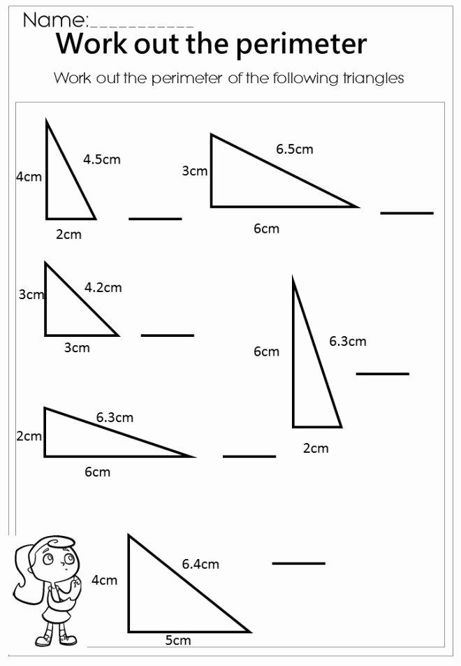 Third Grade Perimeter Worksheets Measure the Perimeter Triangle Worksheet