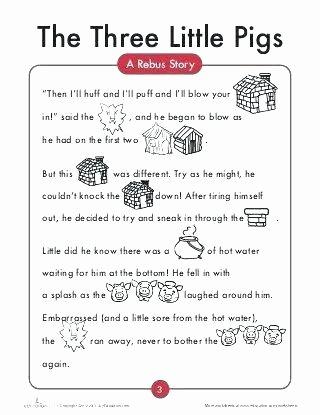 Three Little Pigs Worksheets Story Worksheets for Kindergarten