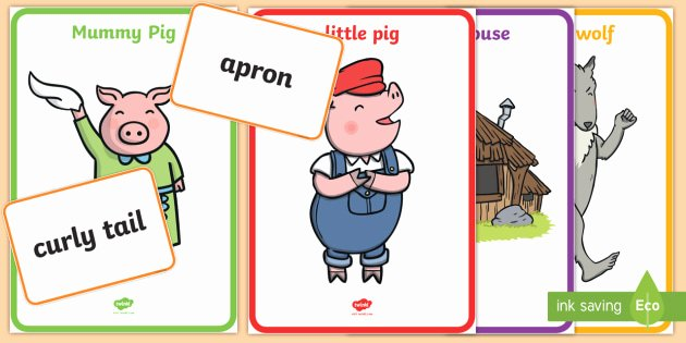 Three Little Pigs Worksheets the Three Little Pigs Character Describing Words Matching