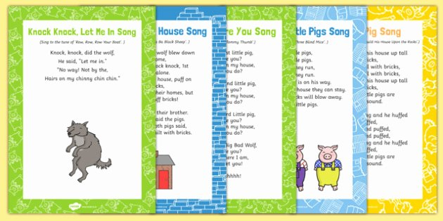 Three Little Pigs Worksheets the Three Little Pigs songs and Rhymes Resource Pack