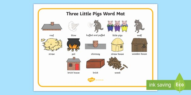 Three Little Pigs Worksheets the Three Little Pigs Word Mat Three Little Pigs Word Mat