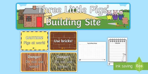Three Little Pigs Worksheets Three Little Pigs Building Site Role Play Pack Three