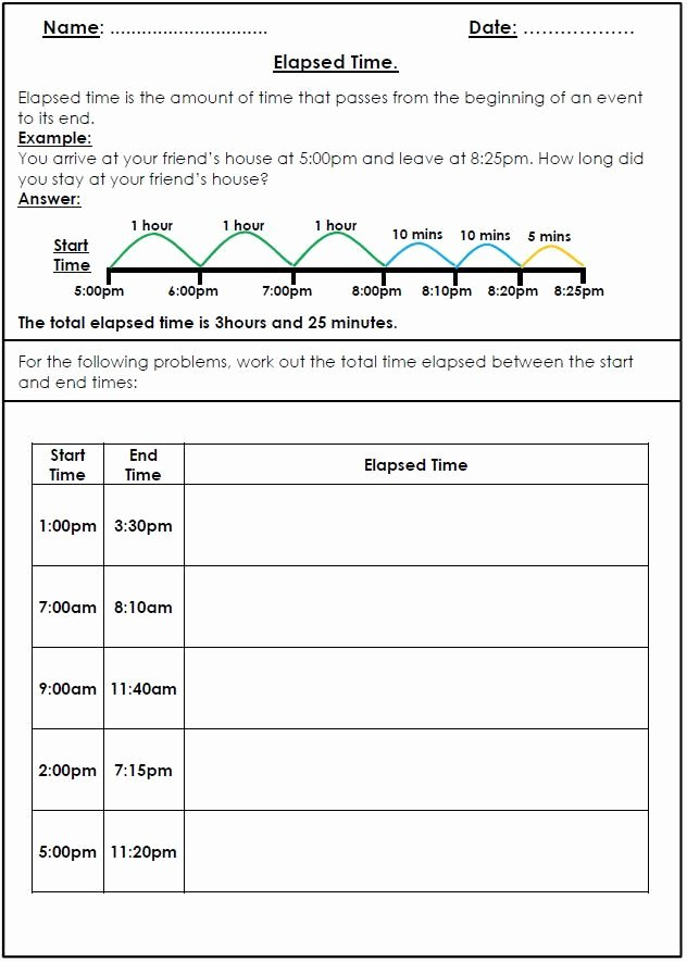 Time and Measurement Worksheets Elapsed Time Worksheet Freebie
