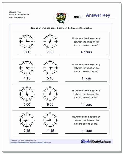 analog elapsed time start from quarter hours worksheets estimating measure