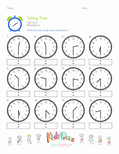Time and Measurement Worksheets Telling Time Half Hour Worksheet 3 Education
