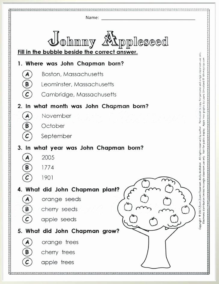 Timeline Worksheets for 1st Grade Johnny Appleseed Worksheets for First Grade