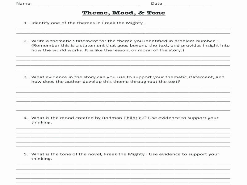 Tone and Mood Worksheet Pdf Finding theme Worksheet Story Elements Worksheets Plot