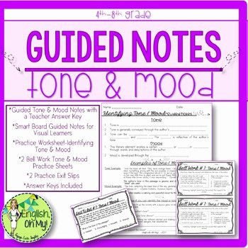 Tone and Mood Worksheet Pdf tone and Mood Notes Worksheets & Teaching Resources