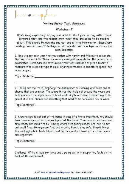 Topic Sentence Worksheet 2nd Grade Paragraph Writing Worksheets Grade 4 Free Library Download