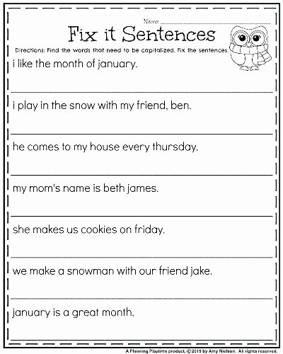Topic Sentence Worksheet 2nd Grade Plete Sentence Worksheets Grade and In Plete Sentences
