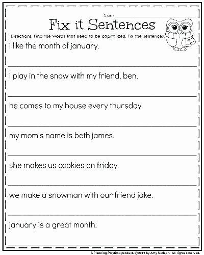 Topic Sentence Worksheet 2nd Grade Plete Sentence Worksheets Grade and In Plete Sentences