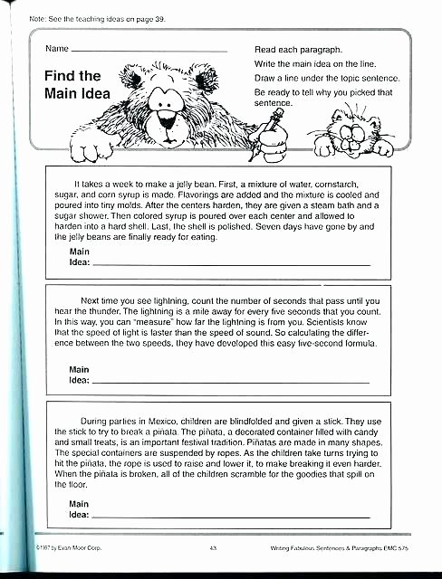 Topic Sentence Worksheets 2nd Grade Beautiful Main Idea Of A Paragraph Worksheets