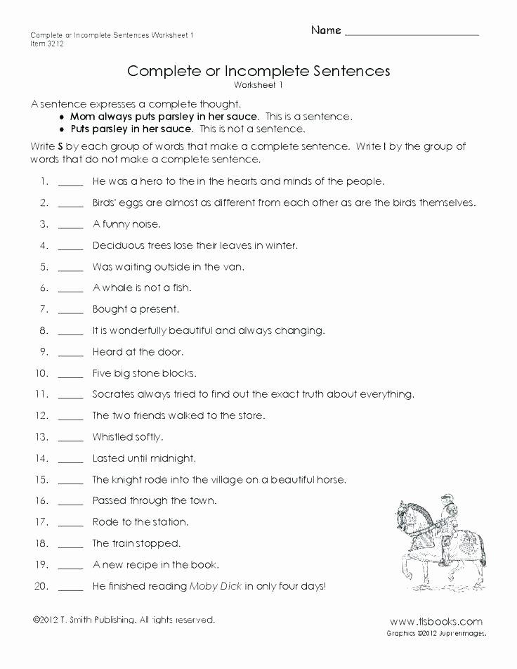 Topic Sentence Worksheets 3rd Grade Plete Sentence Worksheets Best Free Sentences