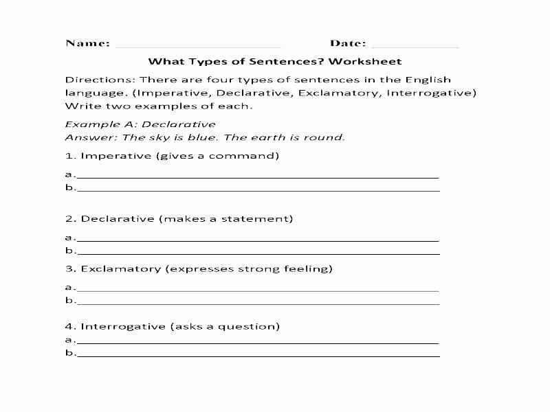 Topic Sentence Worksheets 4th Grade Practice Worksheets Four Kinds Sentences Selfie Lions