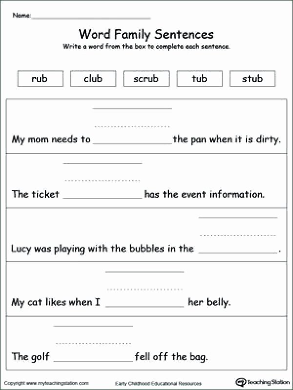 Topic Sentence Worksheets 4th Grade Ub Word Family Worksheets topic Sentence Worksheet In Word
