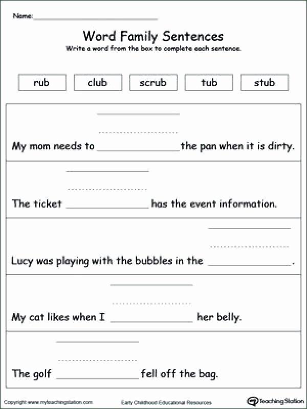 Topic Sentence Worksheets 4th Grade Ub Word Family Worksheets topic Sentence Worksheet In Word