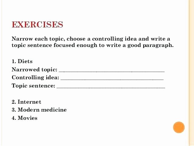 Topic Sentences Worksheets 3rd Grade topic Sentence Worksheets Exercises Narrow Each topic