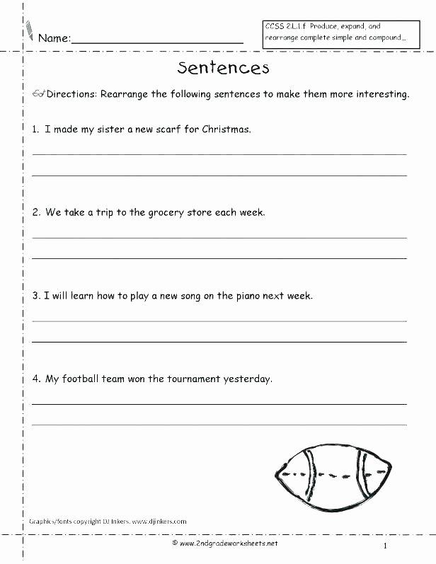Topic Sentences Worksheets Grade 4 Cut Up Sentences Worksheets First Grade Fix It Students