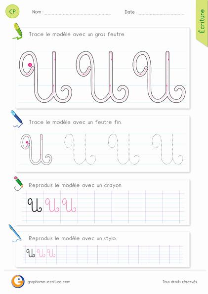 Trace the Letter E Pdf Exercice D écriture Cp Ce1 Apprendre  écrire La