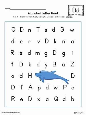 Tracing Lowercase Letters Printable Worksheets Alphabet Letter Hunt Letter D Worksheet Color