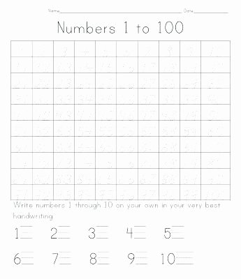 Tracing Numbers 1 100 Worksheets Number Chart 1 Inspirational Printable Hundred and Blank