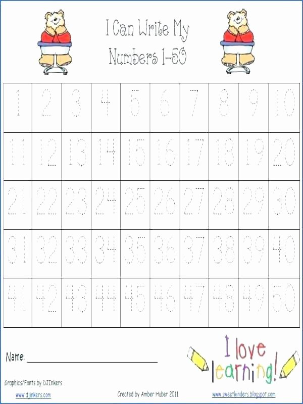 Tracing Numbers 1 100 Worksheets Number Trace Worksheets Tracing to Worksheet for Preschool 1