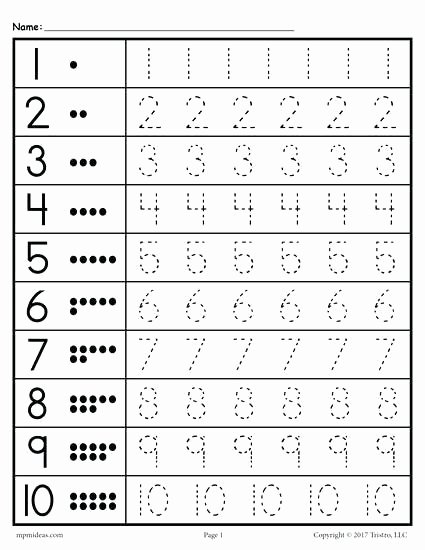 Tracing Numbers 1 20 Printable Printable Number Tracing Worksheets for Kindergarten Trace