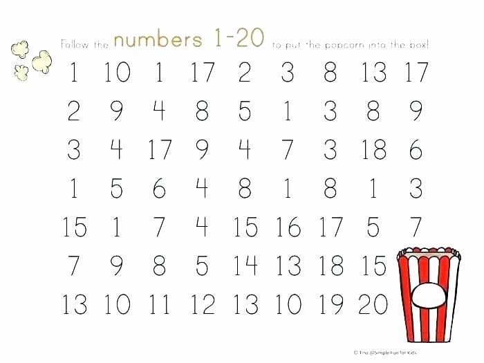 Tracing Numbers 1 20 Worksheet Number Tracing Worksheets for Kindergarten An Printable