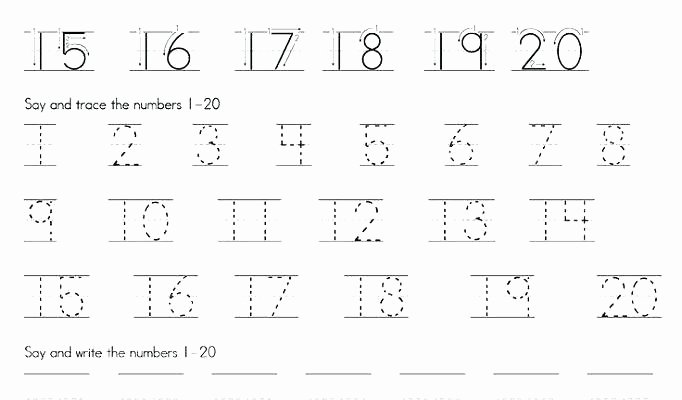 Tracing Numbers 1 20 Worksheets Free Printable Number Writing Worksheets Tracing for