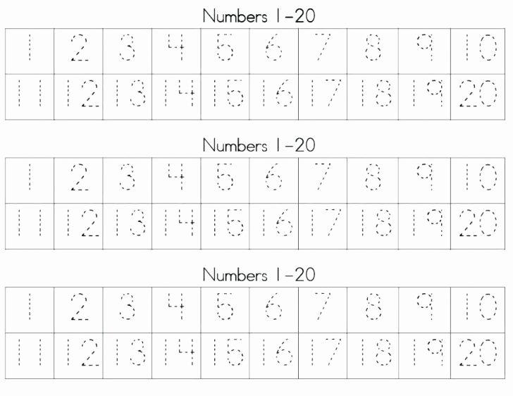 Tracing Numbers 1 20 Worksheets Printable Number 21 Worksheets