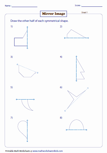 Transformation Math Worksheets Draw the Mirror Image