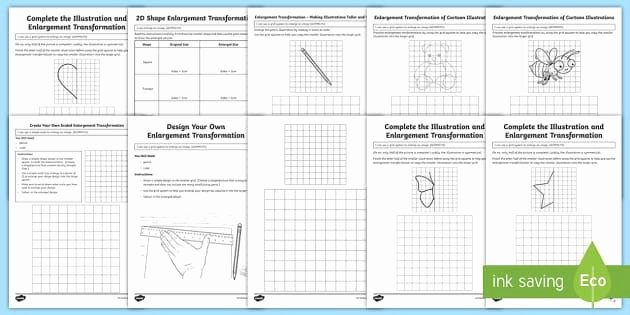 Transformation Math Worksheets Enlargement Transformation Resource Pack Australian