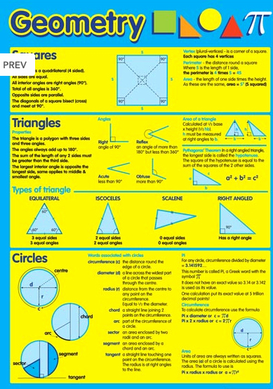 Transformation Math Worksheets Geometry Maths Educational Poster Chart Sat Act
