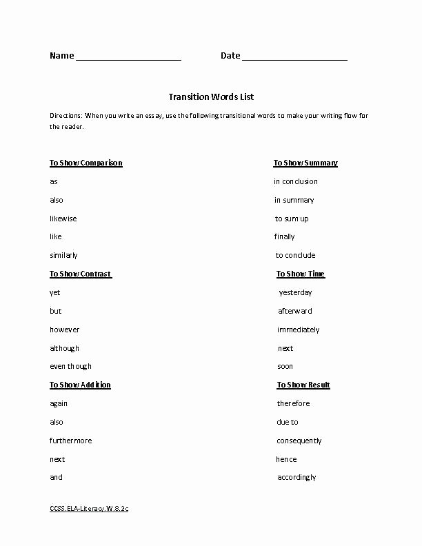 Transition Words and Phrases Worksheets Grade Writing Worksheets Printable Inspirational Essay Free