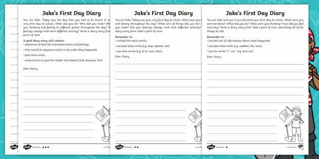 Transition Words and Phrases Worksheets Jake S First Day Diary Writing Differentiated Worksheets