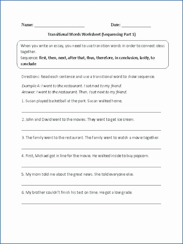 Transition Words Worksheets 4th Grade 4th Grade Paragraph Writing Worksheets