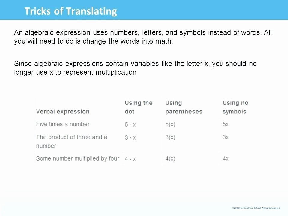Translating Words to Expressions Worksheet Translating Variable Expressions – Essentialdesignsgh