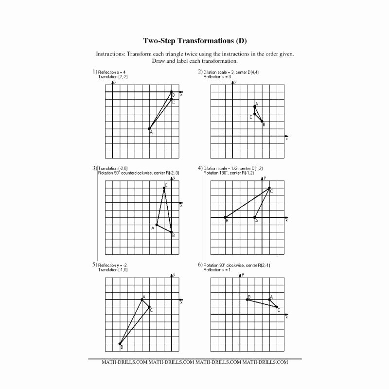 Translations Geometry Worksheets 7 Transformations Worksheet 1 Of 3 Translations In Math