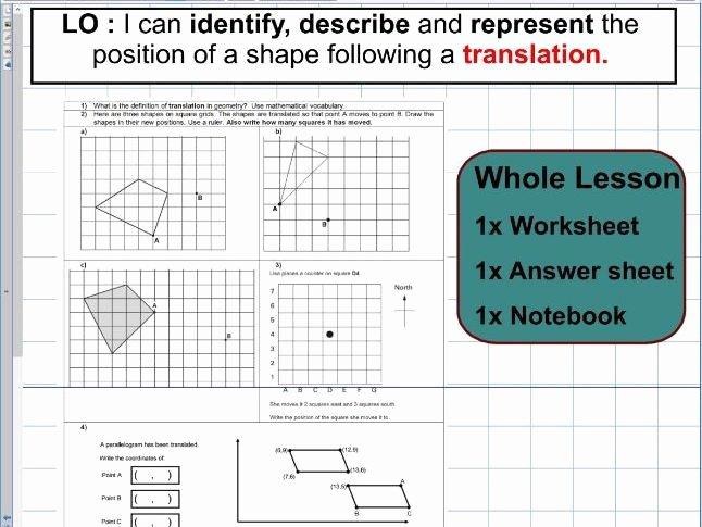Translations Geometry Worksheets Translation Geometry Position Of Shape Ks2 Year 5 & 6
