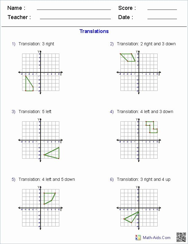Translations Math Worksheets Transformations Geometry Worksheet Best Homeschooling