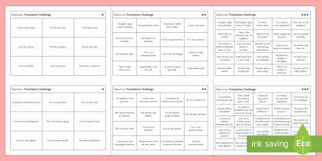 Translations Worksheets Math Adjectives Translation Challenge Differentiated Worksheet