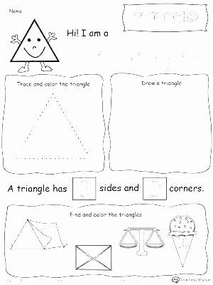 Triangle Worksheet for Kindergarten Basic Shapes Worksheets Simple Geometry Learning Geometric