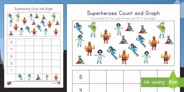 Turkey Graphing Worksheet Superheroes Count and Graph Worksheet Twinkl