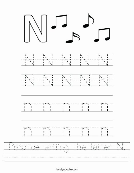 Twisty Noodle Letters Letter N Worksheets